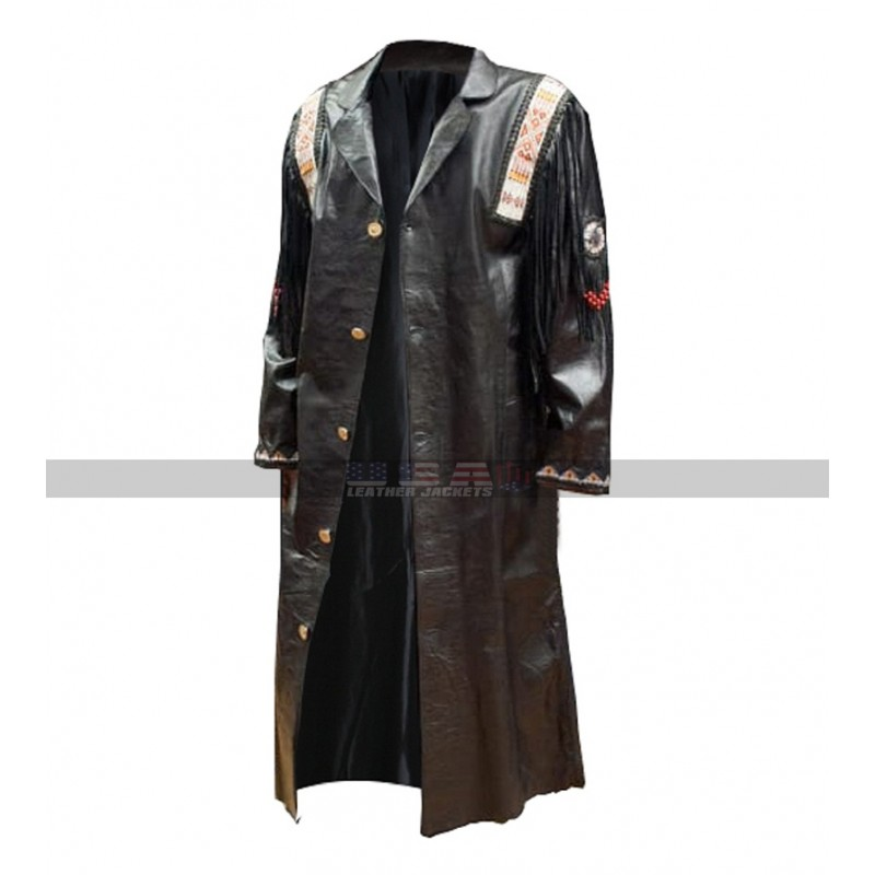 Mens Western Fringe Black and Brown Cowboy Leather Over Coats