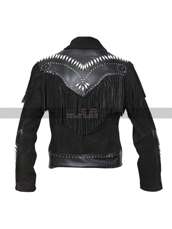Men Western Cowboy Fringe Black Suede Jacket