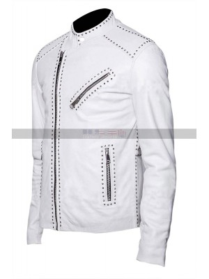 Men's Classic Brando Silver Studded White Leather Jacket