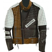 Men's Pop Rock Punk Style Multicolor Studded Retro Biker Leather Jacket