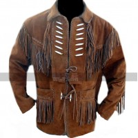 Men's Cowboy Bones and Fringes Brown Suede Leather Jacket