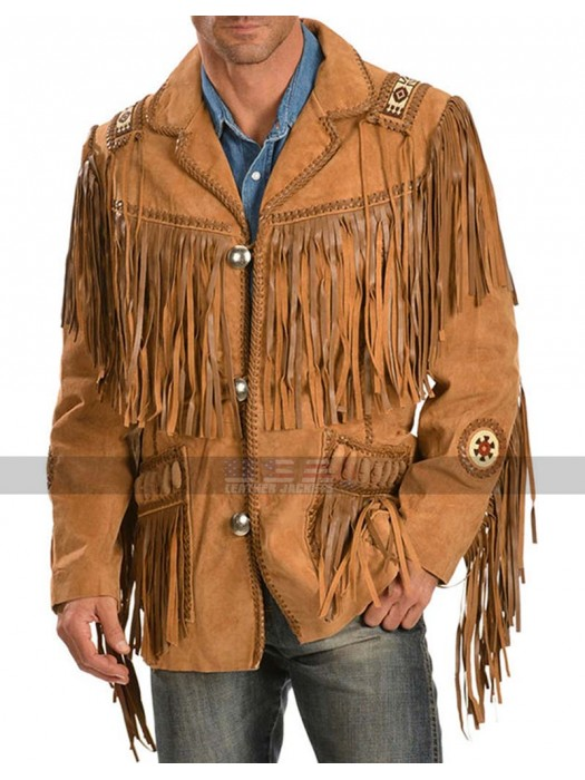 Men Cowboy Beads Fringe Western Brown Suede Jacket