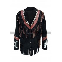 Men Western Wear Cowboy Beads Fringes Black Suede Black