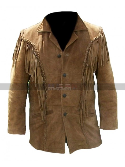 Men Western Cowboy Beads Fringes Brown Suede Jacket