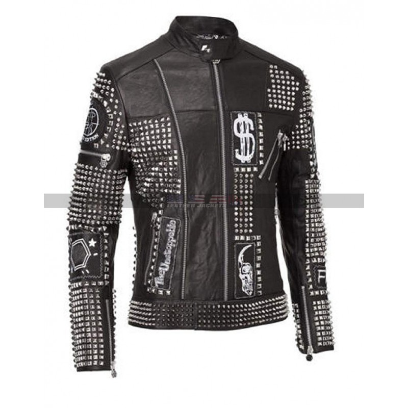Men Philipp Plein Punk Rock Studded Black Leather Jacket