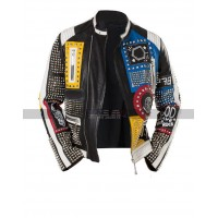 Men Philipp Plein God Save Nip Rock Multicolor Studded Leather Jacket