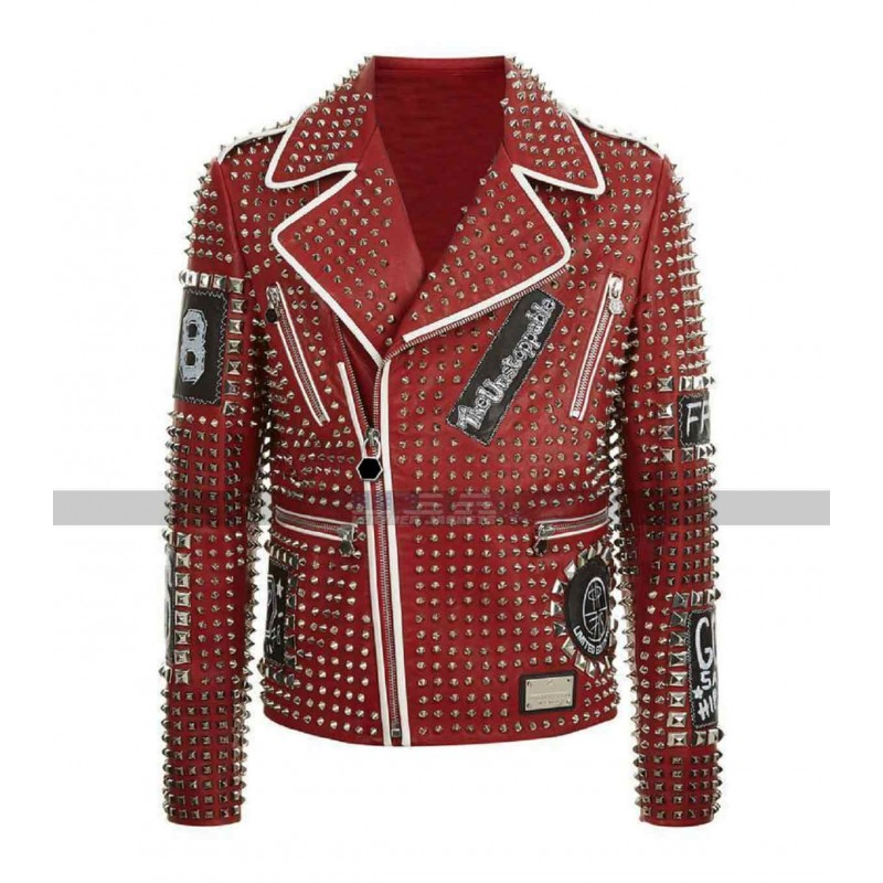 Men Philipp Plein Studded Embroidery Patches Red Biker Leather Jacket