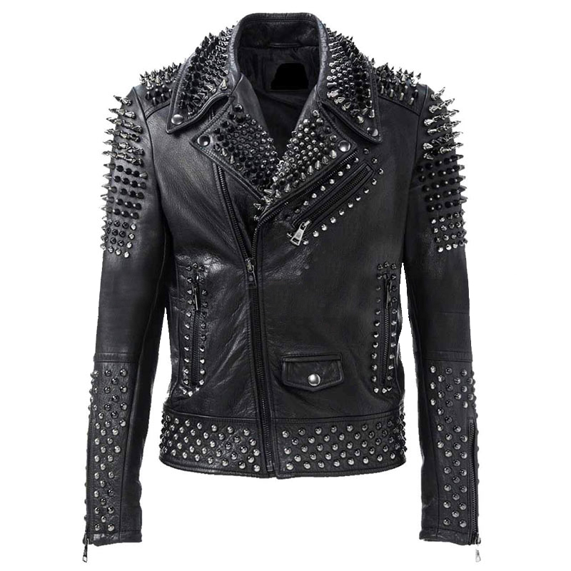 Men's Punk Rock Silver Spikes Studded Black Brando Biker Leather Jacket