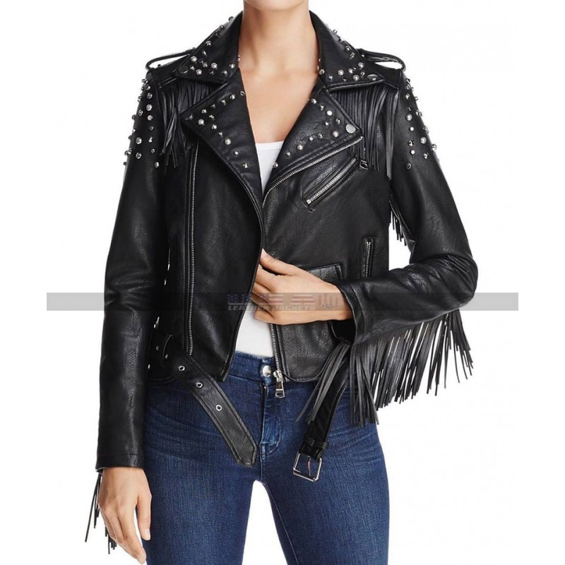 Women Punk Style black studded Biker leather jacket