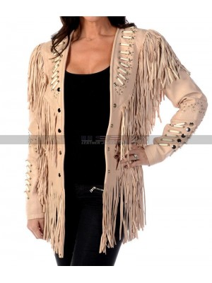 American Native Women Western Cowgirl Fringe Beads Beige Suede Jacket