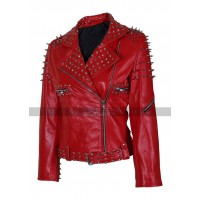 Women Tree Cone Black Spike Red Studded Biker Leather Jacket