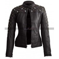 Women Skull & Golden Spike Studded Black Leather Jacket