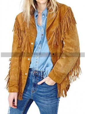 Western Women Cowgirl Fringes Beads Light Brown Suede Jacket
