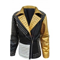 Women Cafe Racer Gold Studded Multicolored Retro Biker Jacket
