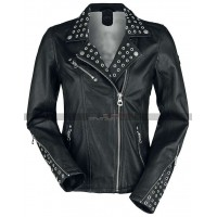Women Slim Fit Moto Biker Black Studded Leather Jacket