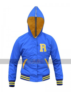 Women's Riverdale Cheer Leader Girls Varsity Blue Bomber Hooded Jacket