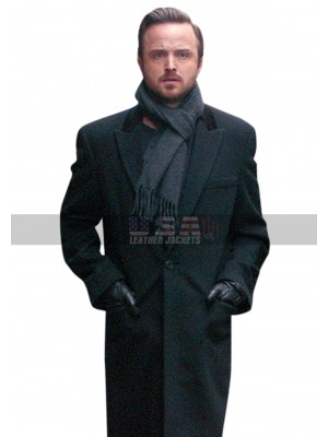 Aaron Paul Paris Black Wool Trench Coat