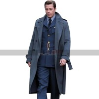Allied Movie Costume Brad Pitt Grey Wool Trench Coat