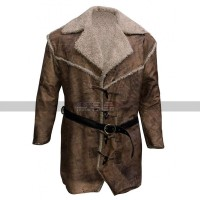 Hell On Wheels Costume Anson Mount Fur Shearling Brown Leather Coat