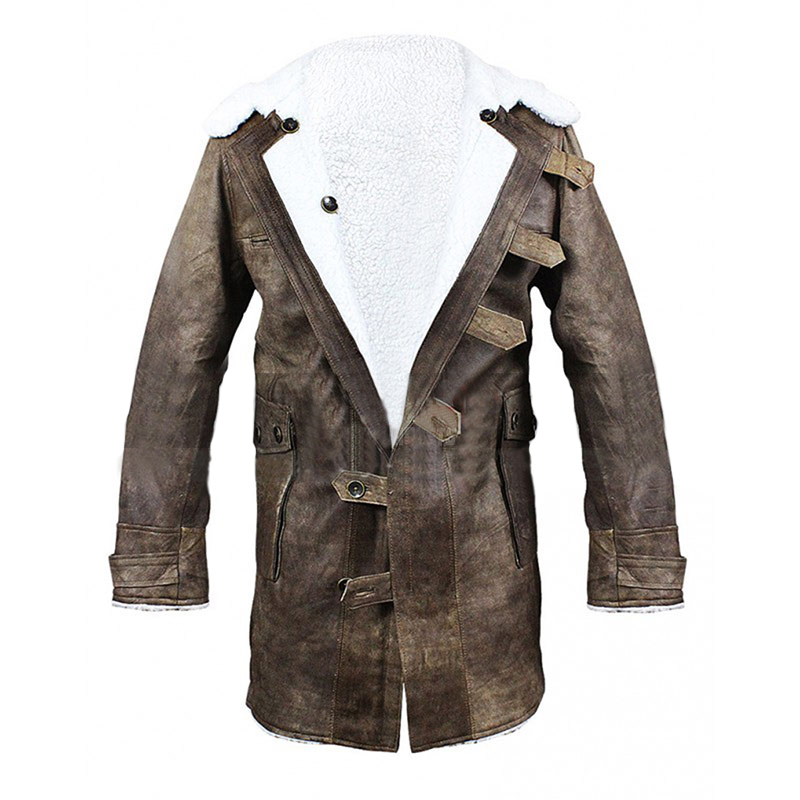 Tom Hardy Dark Knight Rises Bane Fur Leather Coat