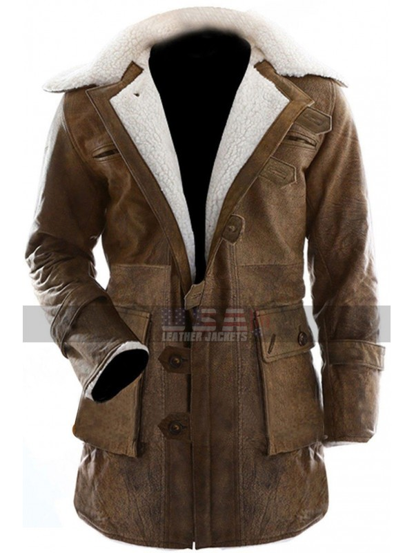 Batman Dark Knight Rises Bane Fur Leather Coat