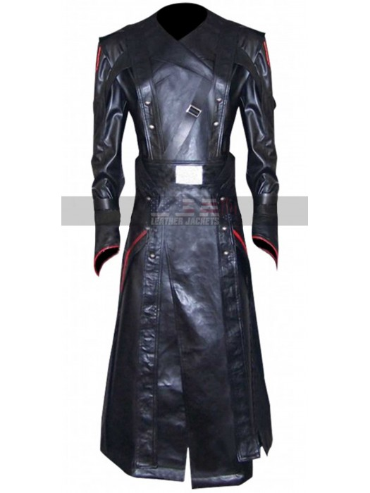 Avengers Captain America Red Skull Black Trench Leather Coat