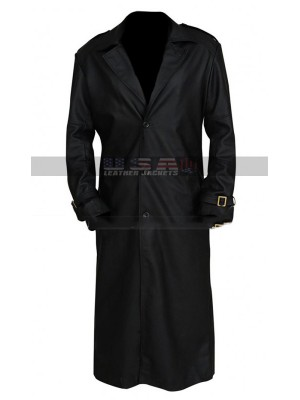 Captain Marvel Costume Nick Fury Black Leather Coat