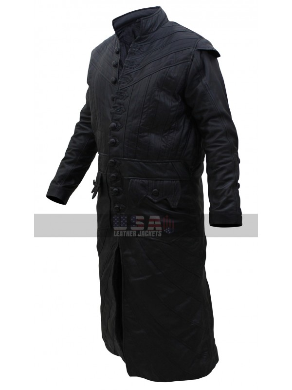 Black Sails S3 Pirates Captain James Flint Black Leather Coat