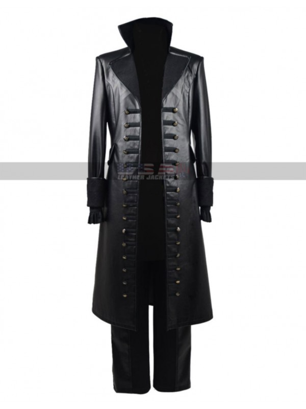 Once Upon Time Season 5 Captain Killian Jones Leather Coat