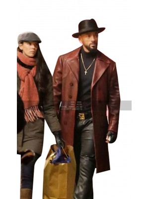 Suicide Squad Costar Will Smith Brown Leather Trench Coat