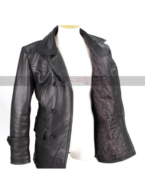 813ad1878 World War 2 German Classic Officer Military Black Costume Leather Coat