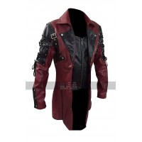 Gothic Steampunk Matrix Black And Maroon Leather Trench Coat