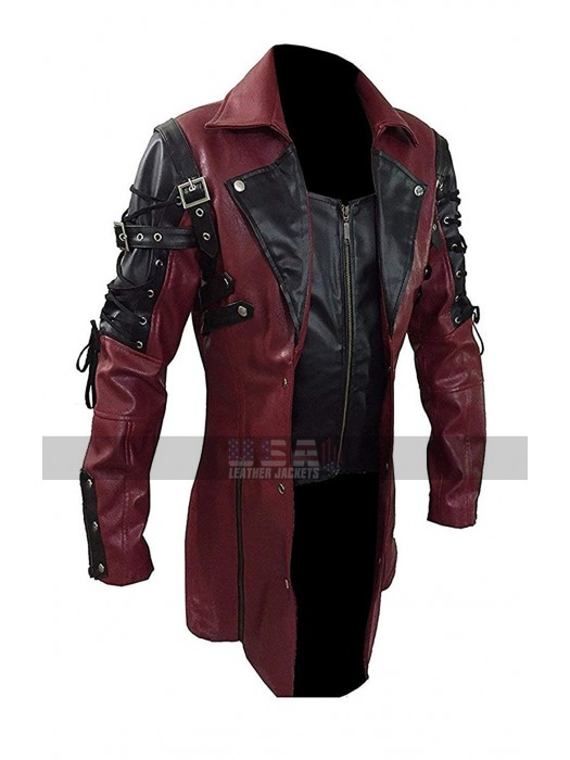 Gothic Steampunk Matrix Black / Maroon Leather Trench Coat