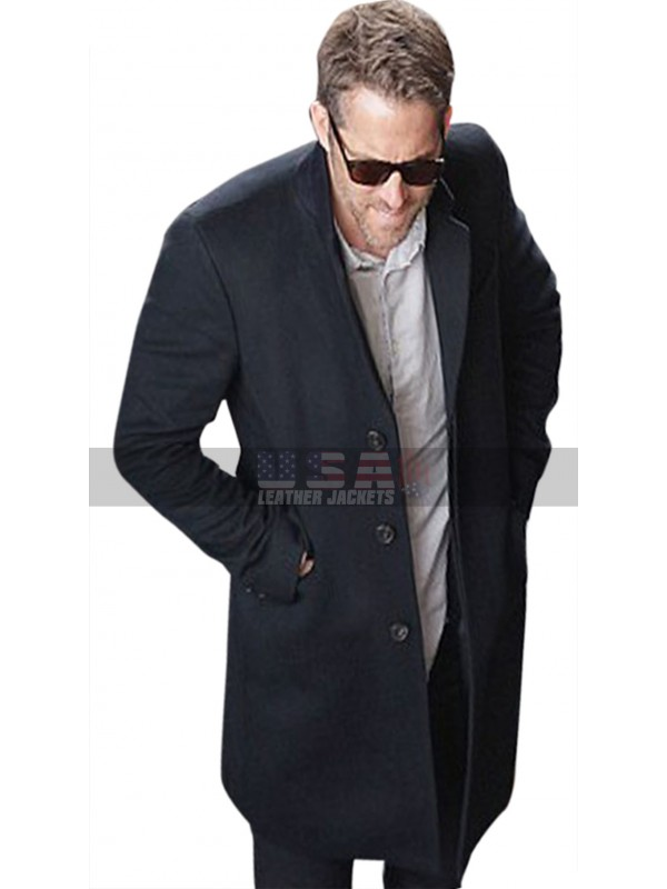 The Hitman's Bodyguard Ryan Reynolds Black Cotton Coat