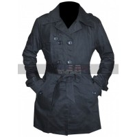 Jennifer Lawrence (Tiffany) Trench Black Cotton Coat
