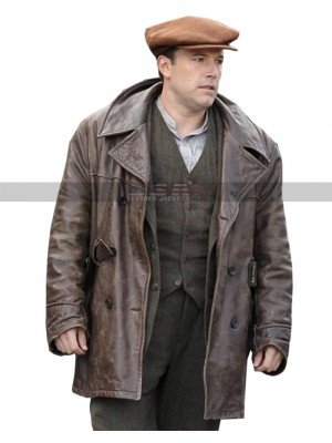 Live By Night Ben Affleck Vintage Distressed Brown Leather Coat