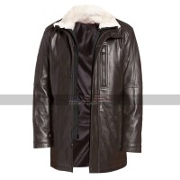 Men's Winter Leather Gear Classic Vintage Fur Collar Brown Leather Jacket