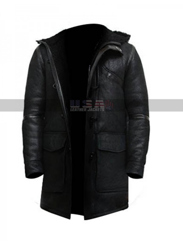 Mens Vintage Long Fur Hooded Black Shearling Sheepskin Leather Warm Duffle Trench Coat