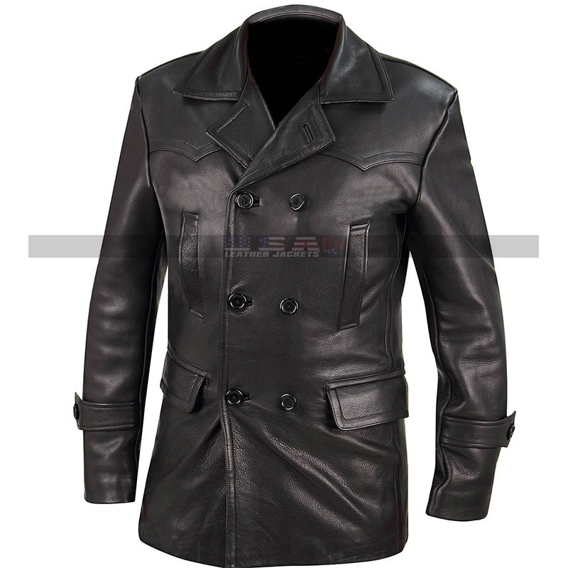 World War 2 German Classic Officer Military Black Costume Leather Coat