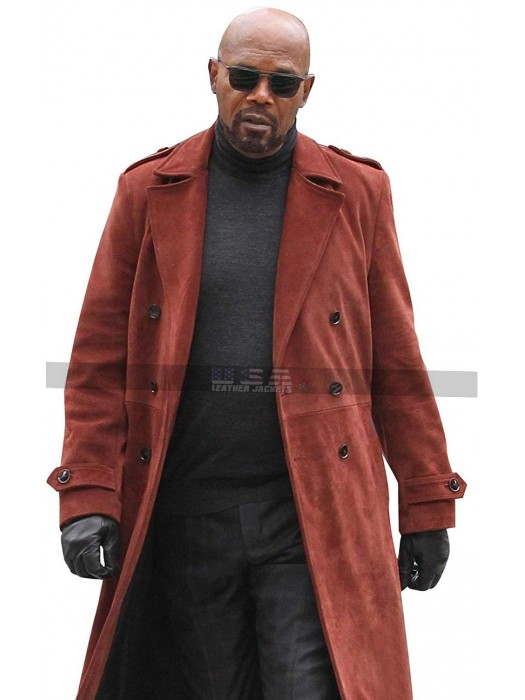 Men's Samuel Jackson John Shaft 2 Red Suede Leather Trench Coat
