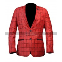Spider Man Far From Home Costume Peter Parker Red Blazer Leather Coat