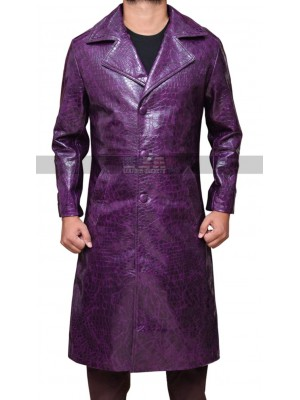 Suicide Squad Joker Leather Trench Coat