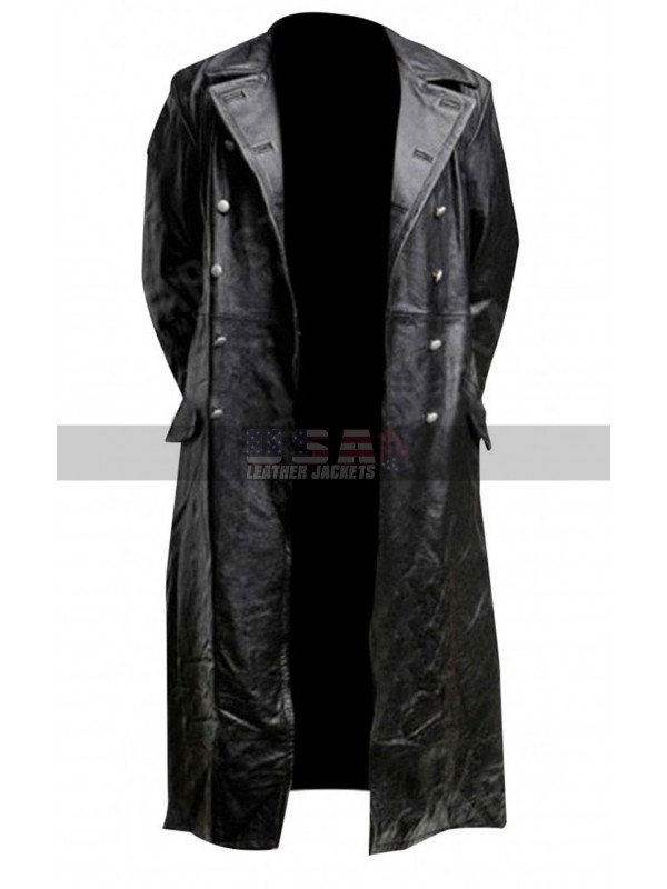 German Classic Officer Military World War 2 Trench Black Costume Leather Coat