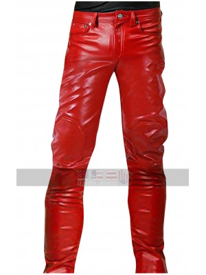 Akira Kaneda Red Capsule Motorcycle Rider Slim Fit Leather Pants