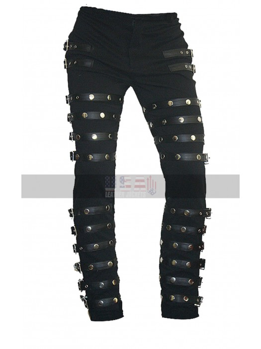 Michael Jackson BAD Concert Tour MJ Black Metal Rock Leather Pants