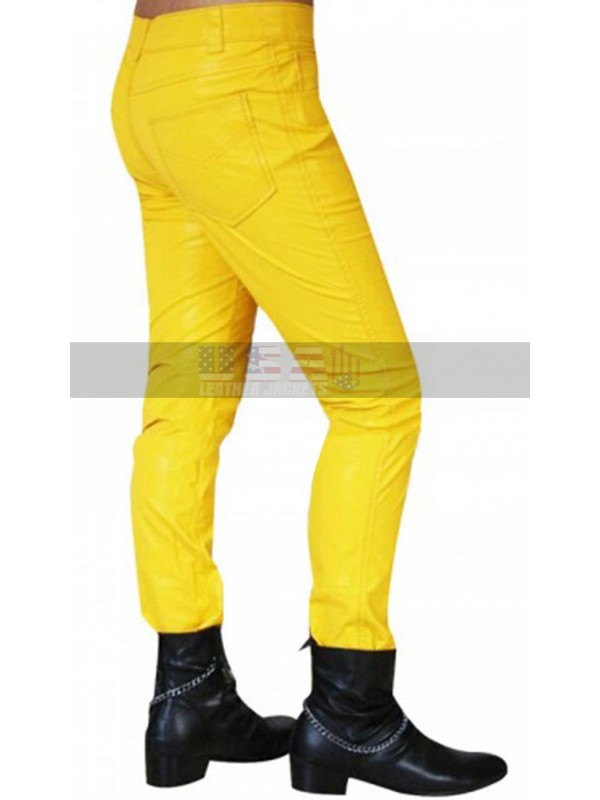 Freddie Mercury Slim Fit Yellow Leather Pants