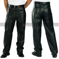 Men's Loose Fit Black Leather Pants