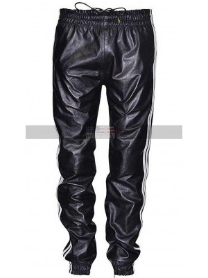 Sports Wear Jogging Track Pants Bottom Case Black & White Stripe Men's Leather Trousers