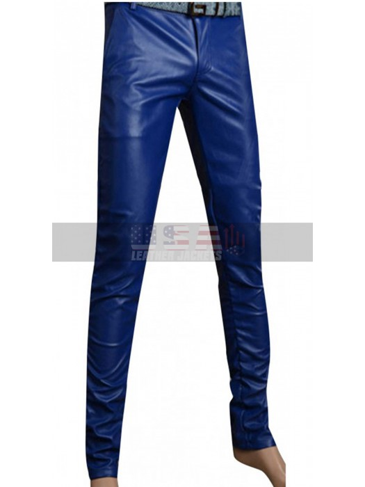 Men's Slimfit Stylish Blue Leather Pants