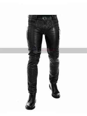 Men's Motorcycle Quilted Style Black Biker Leather Pants